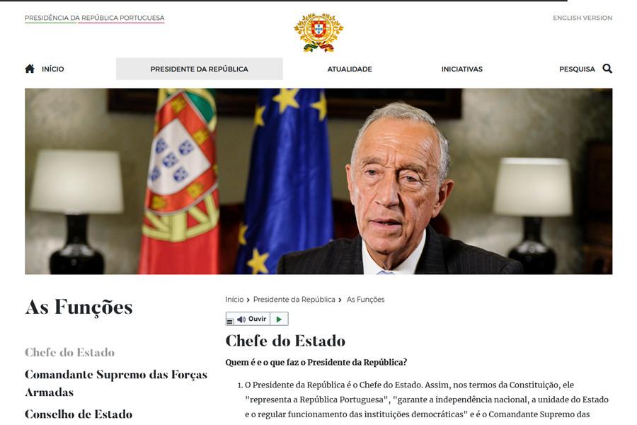 Novo portal da Presidência da República Portuguesa