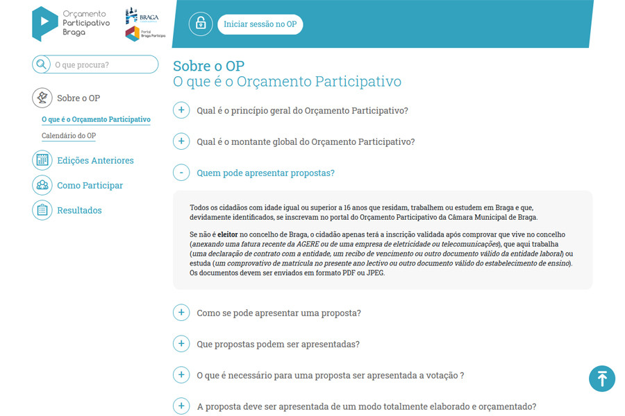 Novo Orçamento Participativo da Câmara Municipal de Braga