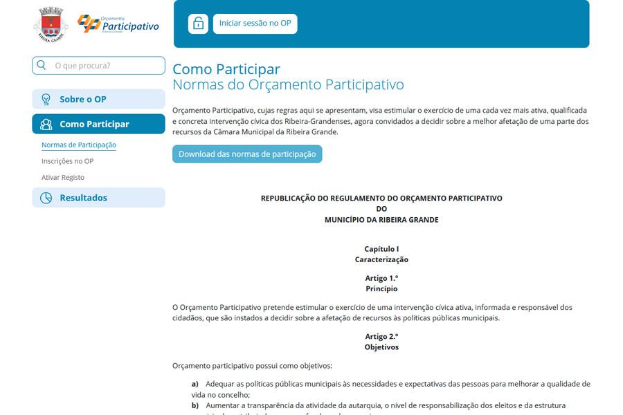 Orçamento Participativo da Câmara Municipal da Ribeira Grande