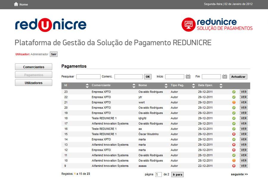 Plataforma de Gestão do Portal de Pagamento REDUNICRE@Payments