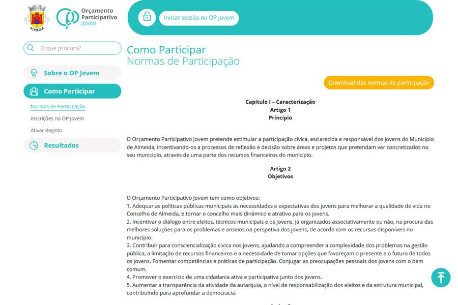 Orçamento Participativo Jovem da Câmara Municipal de Almeida