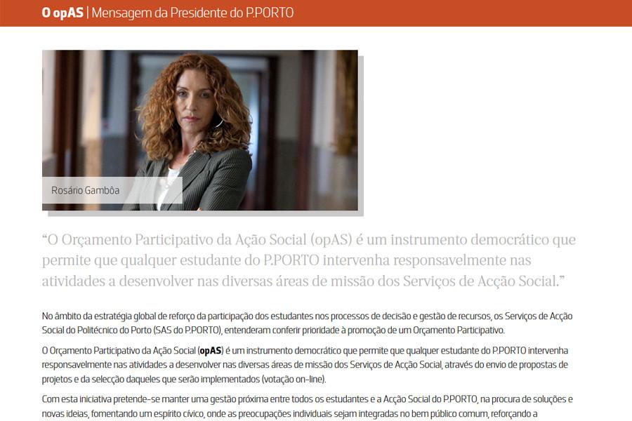 Primeira edição do Orçamento Participativo do SAS do Instituto Politécnico do Porto